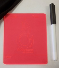 Hotsauce Games Plastic Life Pad - With Dry Erase Marker and Eraser - RED