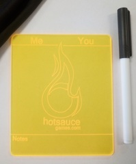 Hotsauce Games Plastic Life Pad - With Dry Erase Marker and Eraser - YELLOW