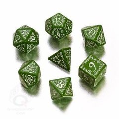 Green & White Elvish 7 Dice Set