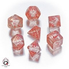 Translucent & Red Elvish 7 Dice Set