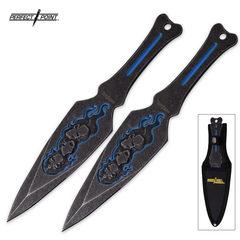 Stonewash Blue Skull Throwing Knives