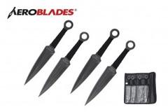 4 Stonewash Kunai Throwing Knives