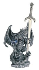 Silver Dragon Orb with Sword