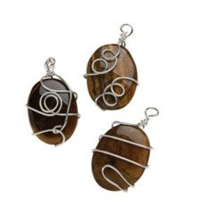 Wire Wrapped Oval Tigers Eye Pendant