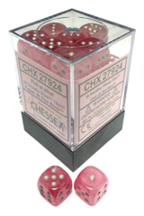 Chessex - 36x Six-Sided Dice (d6) - Ghostly Glow Pink w/silver pips (12mm) [#CHX2924]