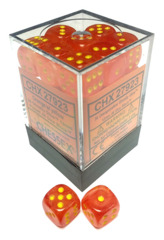 Chessex - 36x Six-Sided Dice (d6) - Ghostly Glow Orange w/yellow pips (12mm) [#CHX2923]