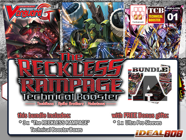 Cardfight Vanguard G-TCB01 Bundle (A) - Get x3 The RECKLESS RAMPAGE Booster Box + FREE Bonus Item ** Pre-Order Ships 02/19