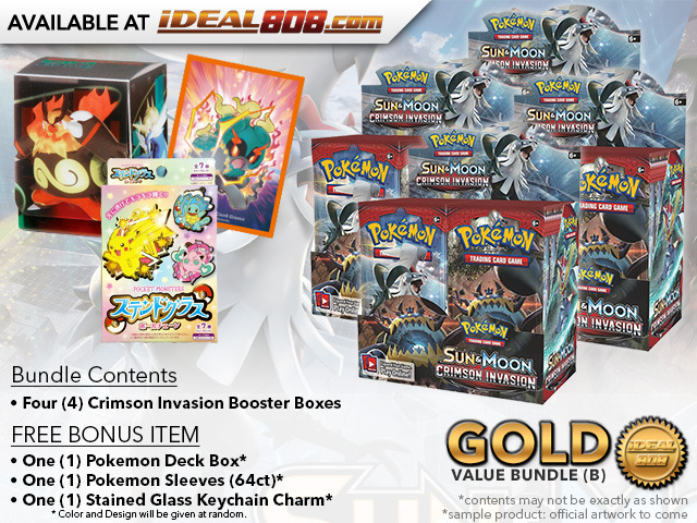 Pokemon SM04 Bundle (B) Gold - Get x4 Crimson Invasion Booster Box + FREE Bonus * PRE-ORDER Ships Nov.03