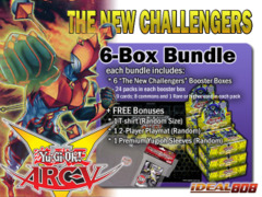 Yugioh NECH Bundle (C) - Get x6 The New Challengers Booster Boxes + FREE Bonus (T-Shirt, Playmat, & Sleeves) ** Ships 11/07 on Ideal808