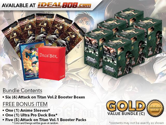 Weiss Schwarz AoT2 Bundle (C) Gold - Get x6 Attack on Titan Vol.2 Booster Boxes + FREE Bonus * PRE-ORDER Ships Sep.29