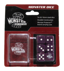 Monster Protectors - 6x Six-Sided Dice (d6) & Carrying Case - Purple