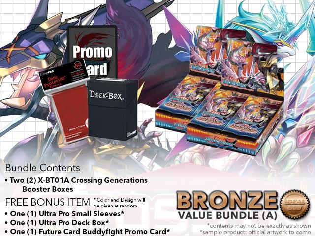 FC-Buddyfight X-BT01A Bundle (A) Bronze - Get x2 Crossing Generations Booster Box + FREE Bonus Items