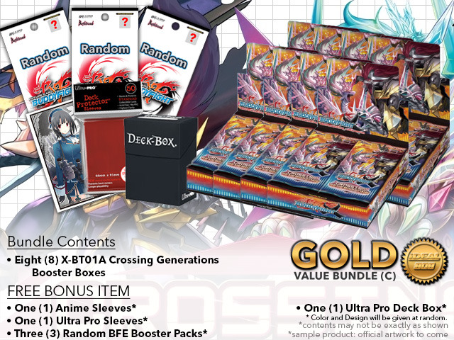 FC-Buddyfight X-BT01A Bundle (C) Gold - Get x8 Crossing Generations Booster Box + FREE Bonus Items