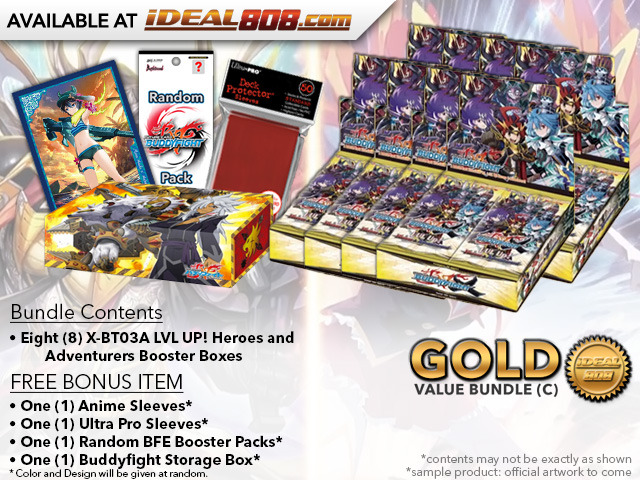 FC-Buddyfight X-BT03A Bundle (C) Gold - Get x8 LVL UP! Heroes and Adventurers Booster Box + FREE Bonus Items *  Ships Sep.22