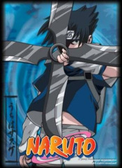 MAX Protection Naruto CCG UK Exclusive Bandai Official Limited Edition Card Sleeves - Sasuke Uchiha Giant Shuriken (Blue) on Ideal808