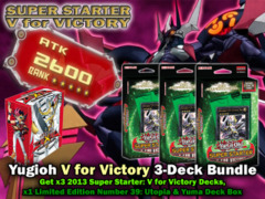 Yugioh V for Victory 3-Deck Bundle: Get x3 Super Starter 2013 Starter Decks & x1 C39: Utopia Deck Box