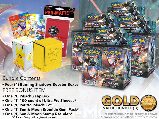 Pokemon SM03 Bundle (B) Gold - Get x4 Burning Shadows Booster Box + FREE Bonus * PRE-ORDER Ships AUG.4