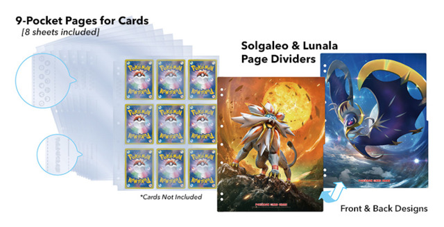 Pokemon Sun & Moon - Refill Kit - 9-Pocket Pages with/Solgaleo & Lunanla Binder Page Divider [#190631]