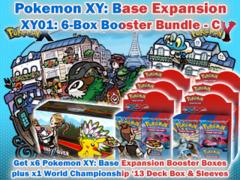 Pokemon XY01 Bundle (C) - Get x6 XY Base Set Booster Box plus x1 World Championship 2013 Double Deck Box & Sleeves