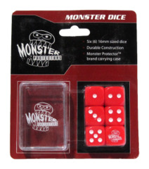 Monster Protectors - 6x Six-Sided Dice (d6) & Carrying Case - Red