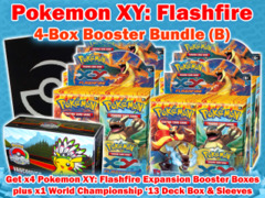 Pokemon XY02 Bundle (B) - Get x4 XY Flashfire Booster Box plus x1 World Championship 2013 Deck Box & Sleeves ** Ships 05/07 on Ideal808