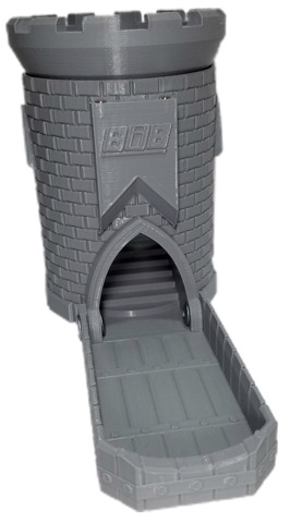 3D Dice Tower Castle - Primer Grey (iDeal808)