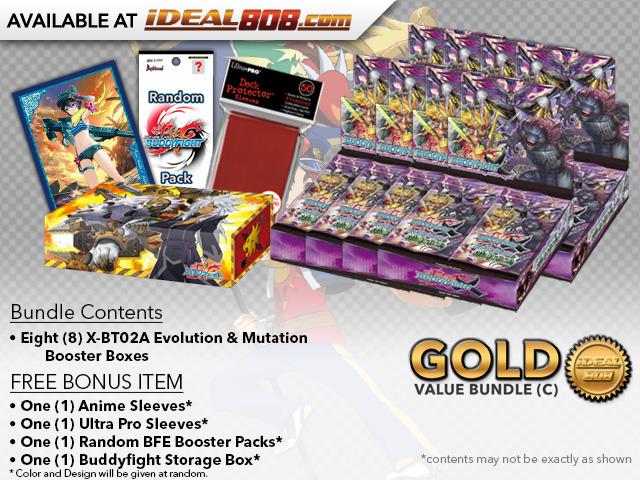 FC-Buddyfight X-BT02A Bundle (C) Gold - Get x8 Evolution & Mutation Booster Box + FREE Bonus Items * PRE-ORDER Ships Aug.25