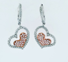 Diamond Heart Style Dangle Earrings in 18k Two Tone Gold