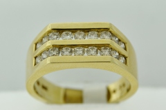 Double Channel Diamond Band, Set in 14k Yellow Gold