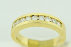 Round Brilliant-cut Diamond Channel Band, Set in 14k Yellow Gold
