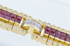 Beautiful Ruby and Diamond Bracelet, in 18k Yellow Gold