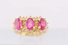 3 Stone Sapphire Ring with Round Diamonds in 14k Yellow Gold