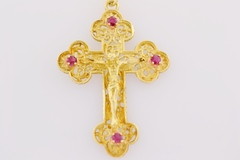 Ruby Crucifix Pendant, with Filigree Pattern in 14k Yellow Gold
