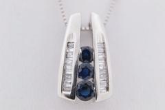 Blue Sapphire and Diamond Pendant, in 10k White Gold