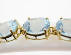 Prong-set Blue Topaz Bracelet, in 14k Yellow Gold