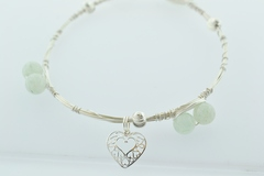 Sterling Wire Bangle, Bracelet w/6 Aventurine Beads and 6 Round Patterned Beads and a Heart Charm