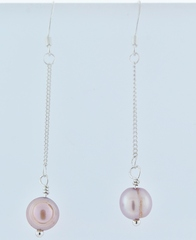 Sterling Silver Pink Pearl Earrings