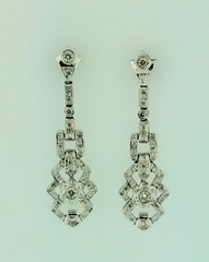 Neo-Vintage Style Diamond Earrings in 14k White Gold