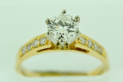 Engagement Ring with Round Diamonds, Set in 14k Yellow Gold