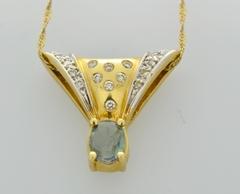 Natural Alexandrite and Diamond Pendant, Set in 14k Yellow Gold