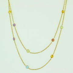 Assorted Gemstone Necklace, on 14k Yellow Gold