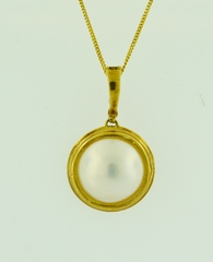 Mabe Pearl Pendant, Set in 14k Yellow Gold