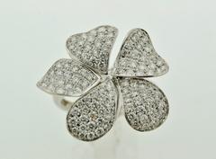 Modern Style Flower Ring, Set in 14k White Gold