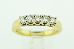 5 Stone Diamond Band in 14k Two Tone Gold