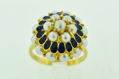 Pearl and Enamel Ring, in 18k Yellow Gold