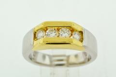 Round Brilliant-cut Diamond Ring, Set in 18k Two Tone Gold