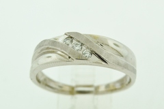 Diamond Band with Satin and Polished Finish, Set in 10k White Gold