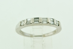 Baguette and Round Diamond Band, Set in 14k White Gold