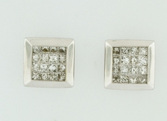 1ct tw Princess-cut Diamond Earrings in 14k White Gold