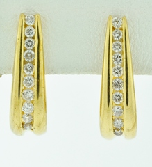 1/2ct tw Round Brilliant-cut Diamonds J-Hoop Earrings